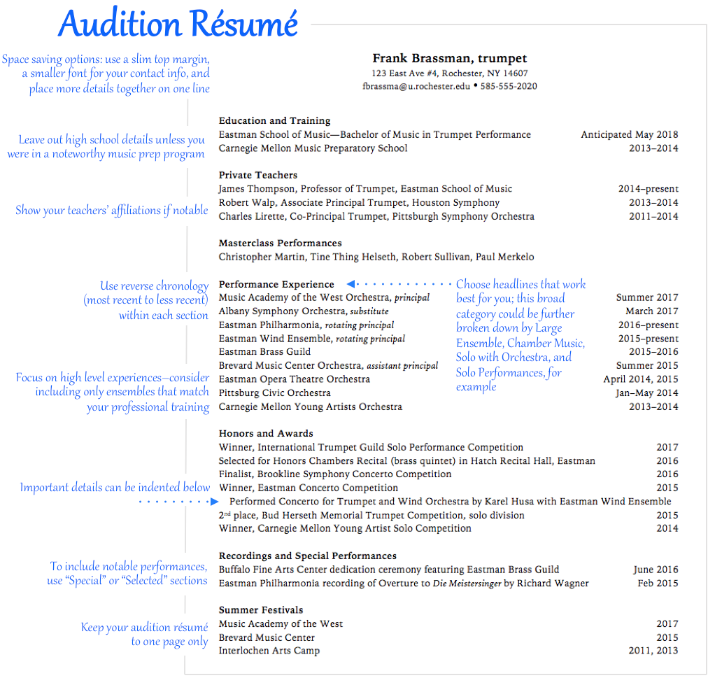 Beautiful Once The Above Student Has More Professional Experiences And Has Graduated,  He Could Reorder His Résumé To Focus First On His Performance Experiences  And ... Pertaining To Music Resume